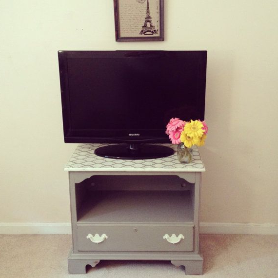 French Linen Tv Stand Or Nightstand – Chalk Painted For Casablanca Tv Stands (View 10 of 20)