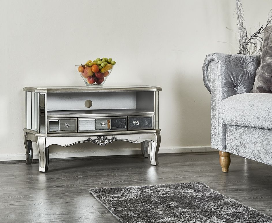 French Shabby Chic Silver Mirrored Tv Stand Unit Storage In Fitzgerald Mirrored Tv Stands (View 1 of 20)