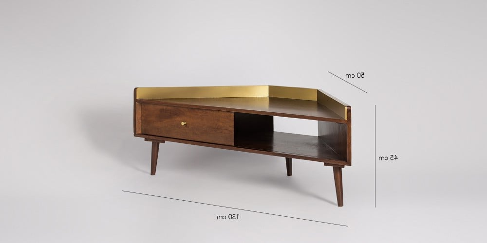 Fresco Mid Century Style Corner Tv Stand In Brass & Light Within Sidmouth Oak Corner Tv Stands (View 18 of 20)