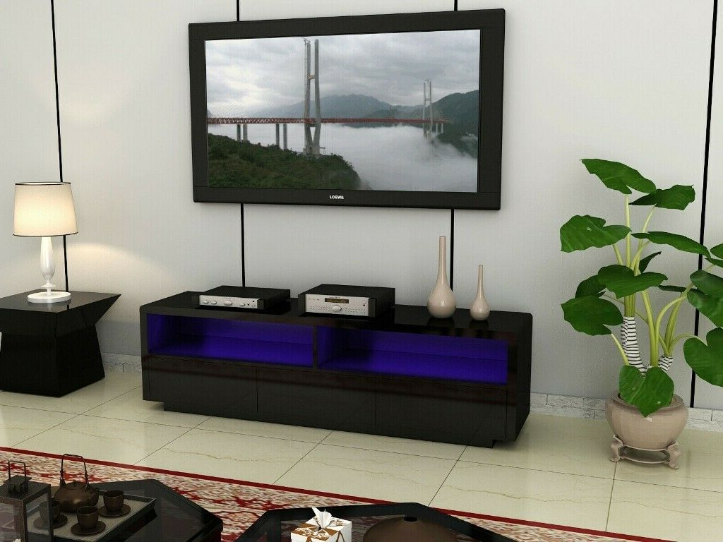 Fully Gloss Large Black High Gloss Led Light Tv Stand Unit Intended For Zimtown Tv Stands With High Gloss Led Lights (View 15 of 20)