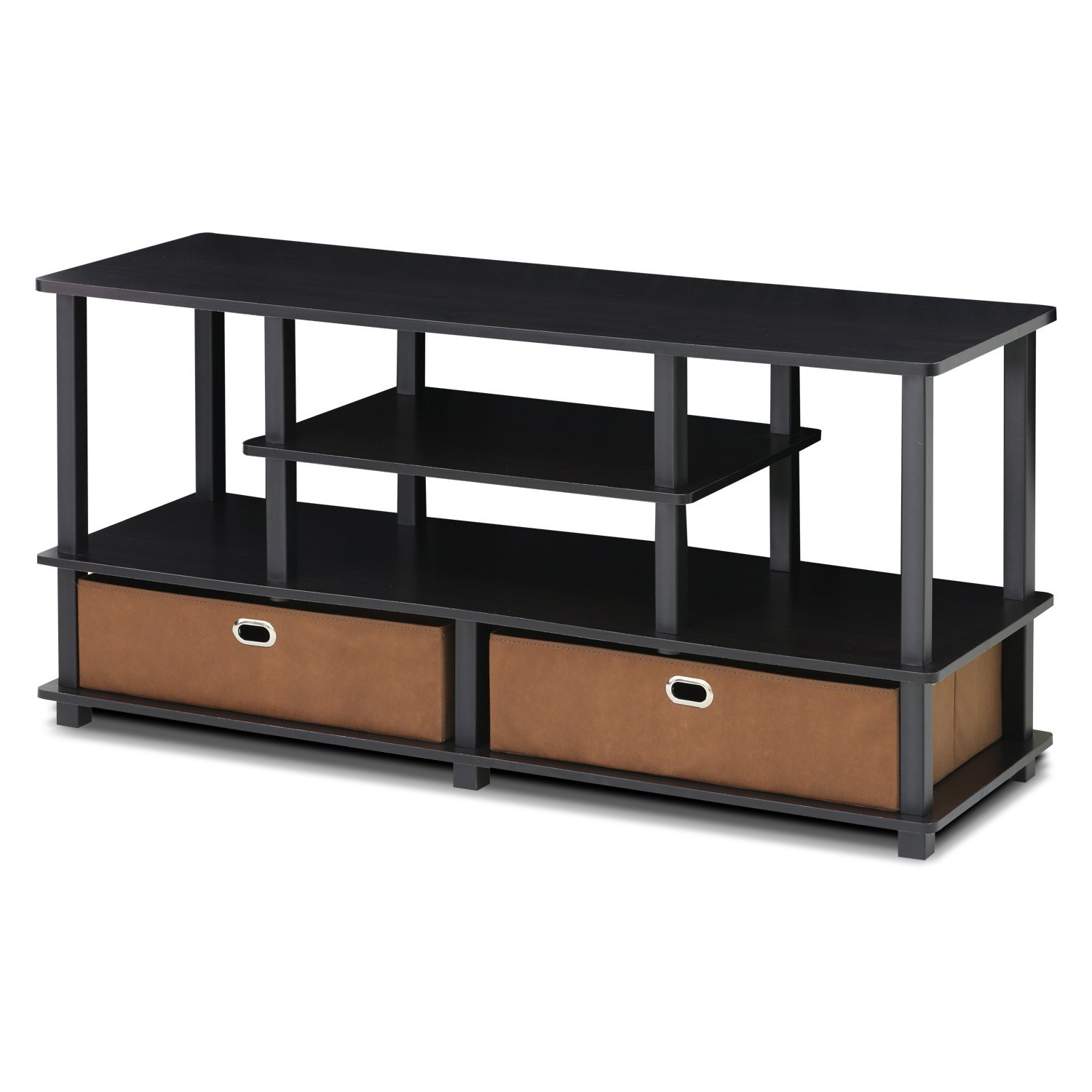 Furinno 15119exbkbr Jaya, Large Tv Stand For Up To 50 Inch With Regard To Furinno Jaya Large Entertainment Center Tv Stands (View 3 of 20)