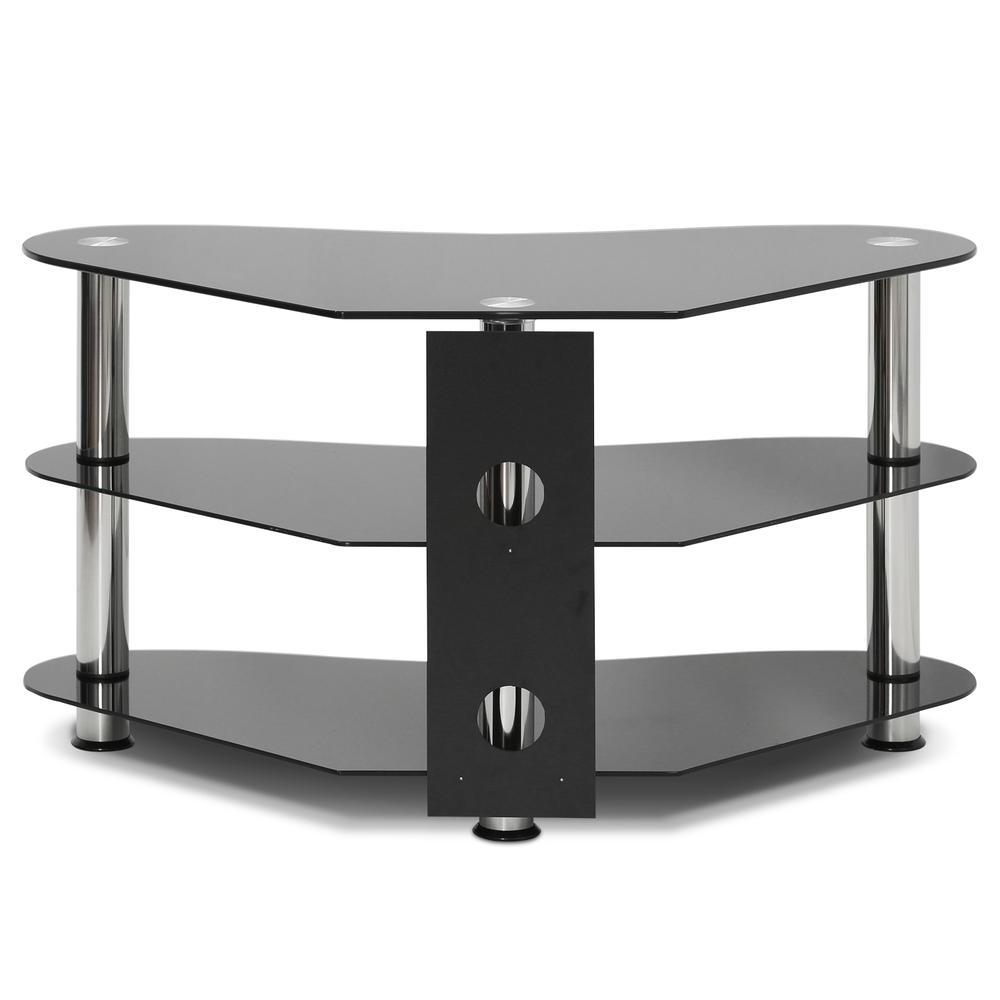 Furinno Alek Modern Silk Screen Glass Corner Tv Stand, Black With Edgeware Black Tv Stands (View 16 of 20)