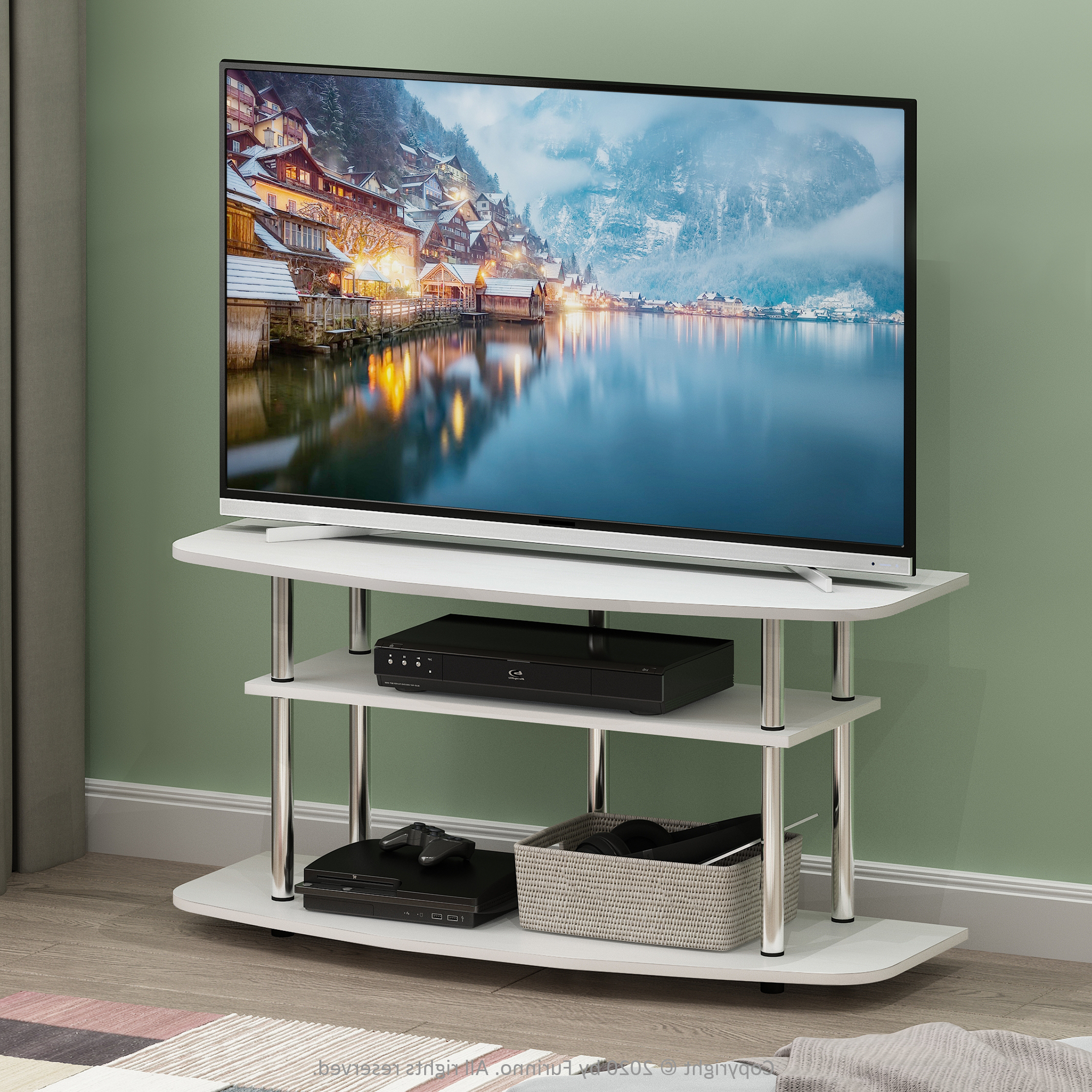 Furinno Frans Turn N Tube 3 Tier Tv Stand For Tv Up To 46 Pertaining To Furinno Turn N Tube No Tool 3 Tier Entertainment Tv Stands (View 2 of 20)