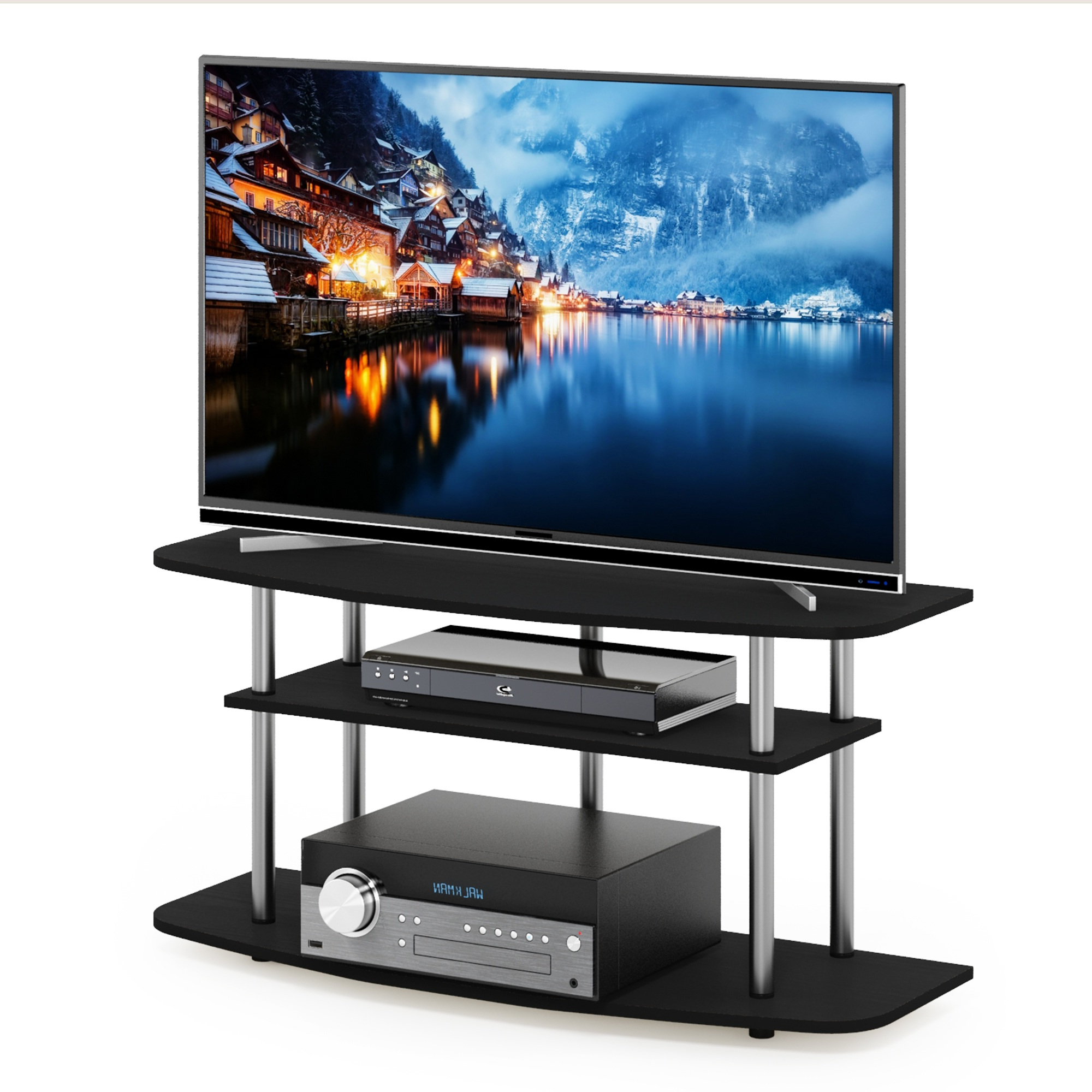Furinno Frans Turn N Tube 3 Tier Tv Stand For Tv Up To 46 Regarding Furinno Turn N Tube No Tool 3 Tier Entertainment Tv Stands (View 12 of 20)