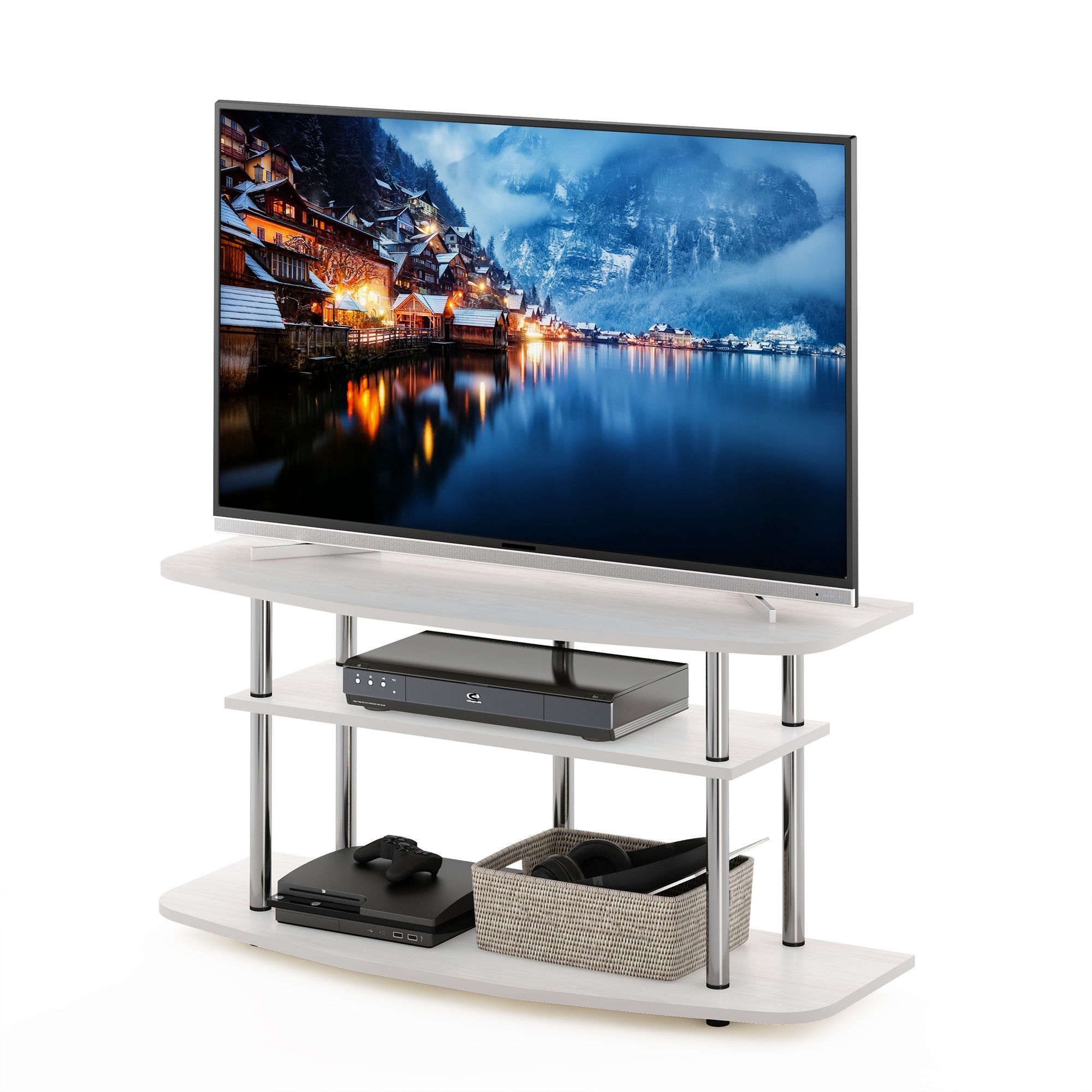 Furinno Frans Turn N Tube 3 Tier Tv Stand For Tv Up To 46 Regarding Furinno Turn N Tube No Tool 3 Tier Entertainment Tv Stands (View 3 of 20)