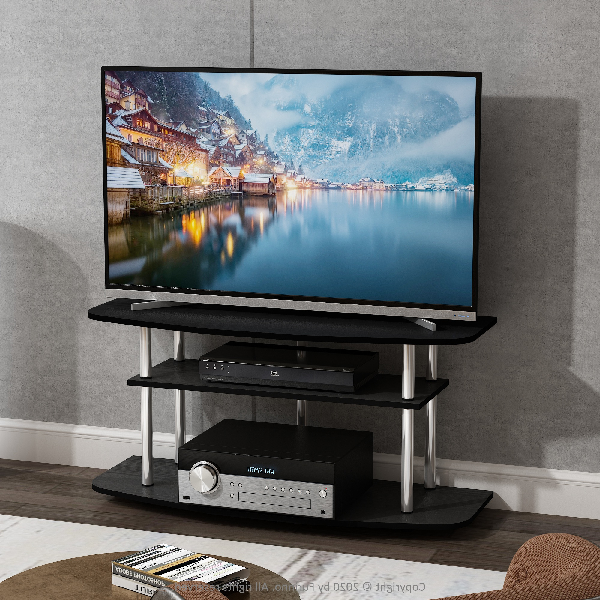 Furinno Frans Turn N Tube 3 Tier Tv Stand For Tv Up To 46 With Furinno Turn N Tube No Tool 3 Tier Entertainment Tv Stands (View 1 of 20)