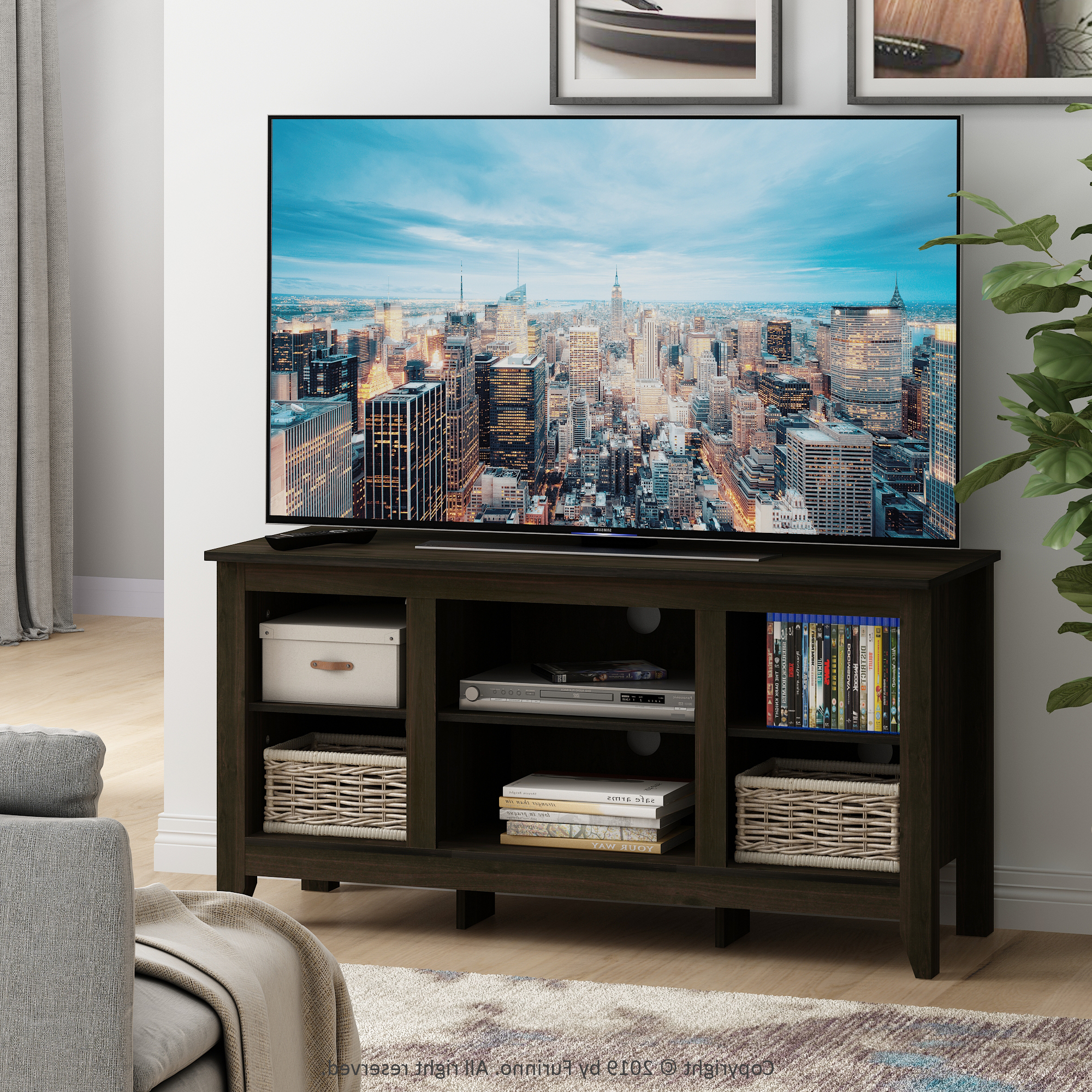 """Furinno Jensen Tv Stand With Shelves, For Tv Up To 55 Inch Inside Glass Shelves Tv Stands For Tvs Up To 60"""" (View 7 of 20)"""