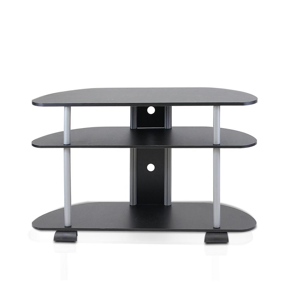 Furinno Turn N Tube Black 3 Shelf Tv Stand With Cable Intended For Furinno Jaya Large Entertainment Center Tv Stands (View 7 of 20)
