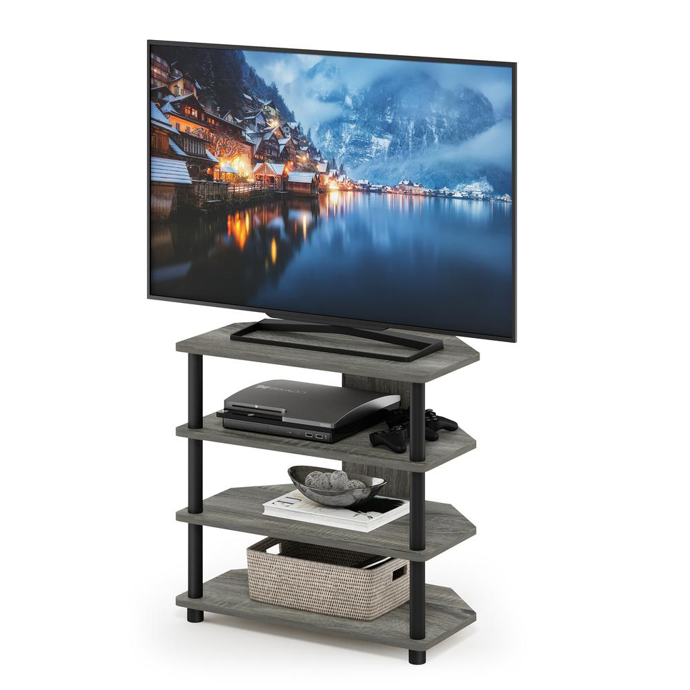 Furinno Turn N Tube Easy Assembly 4 Tier Petite Tv Stand Within Tier Entertainment Tv Stands In Black (View 13 of 20)
