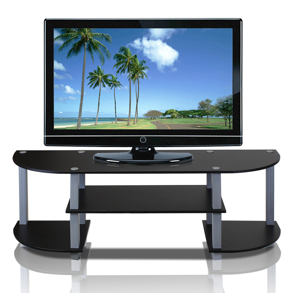 Furinno Turn S Tube Wide Tv Entertainment Center, Black Pertaining To Harbor Wide Tv Stands (View 16 of 20)