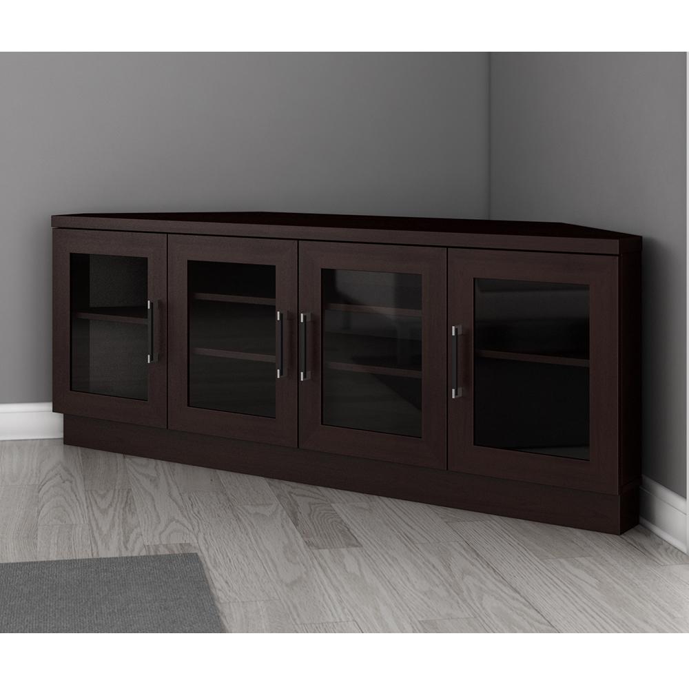 Furnitech Ft60cccw – Contemporary Corner Tv Stand Media Regarding Hex Corner Tv Stands (View 11 of 20)