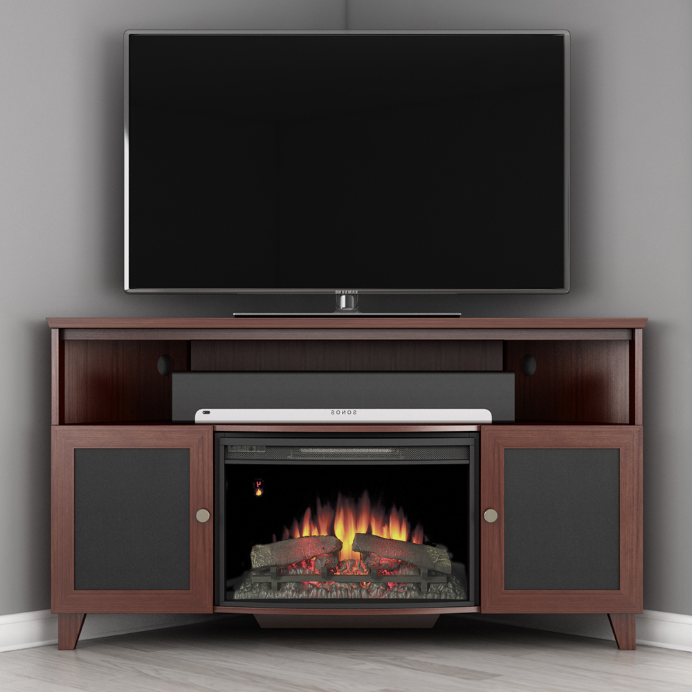 Furnitech Ft61sccfb Shaker Corner Tv Stand Console With Intended For Electric Fireplace Tv Stands With Shelf (View 1 of 20)