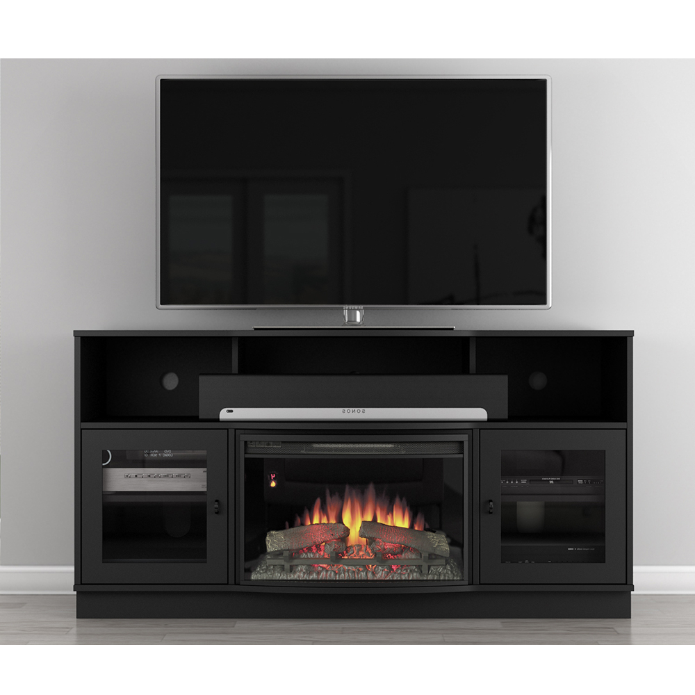 """Furnitech Ft64fb Contemporary Tv Stand Console With Inside Margulies Tv Stands For Tvs Up To 60"""" (View 8 of 20)"""