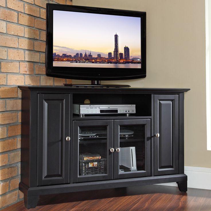 Furniture: Corner Black Tv Cabinet On Wood Flooring With Regarding Exhibit Corner Tv Stands (View 10 of 20)