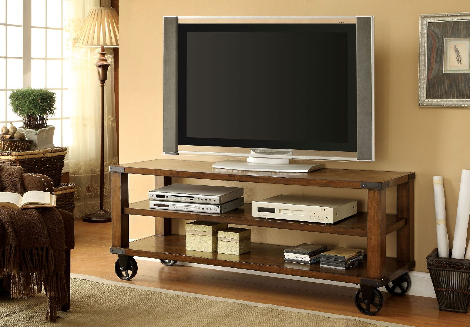 Furniture Of America Cm5227 Caster Wheels Dark Oak Finish With Regard To Mobile Tv Stands With Lockable Wheels For Corner (View 15 of 20)