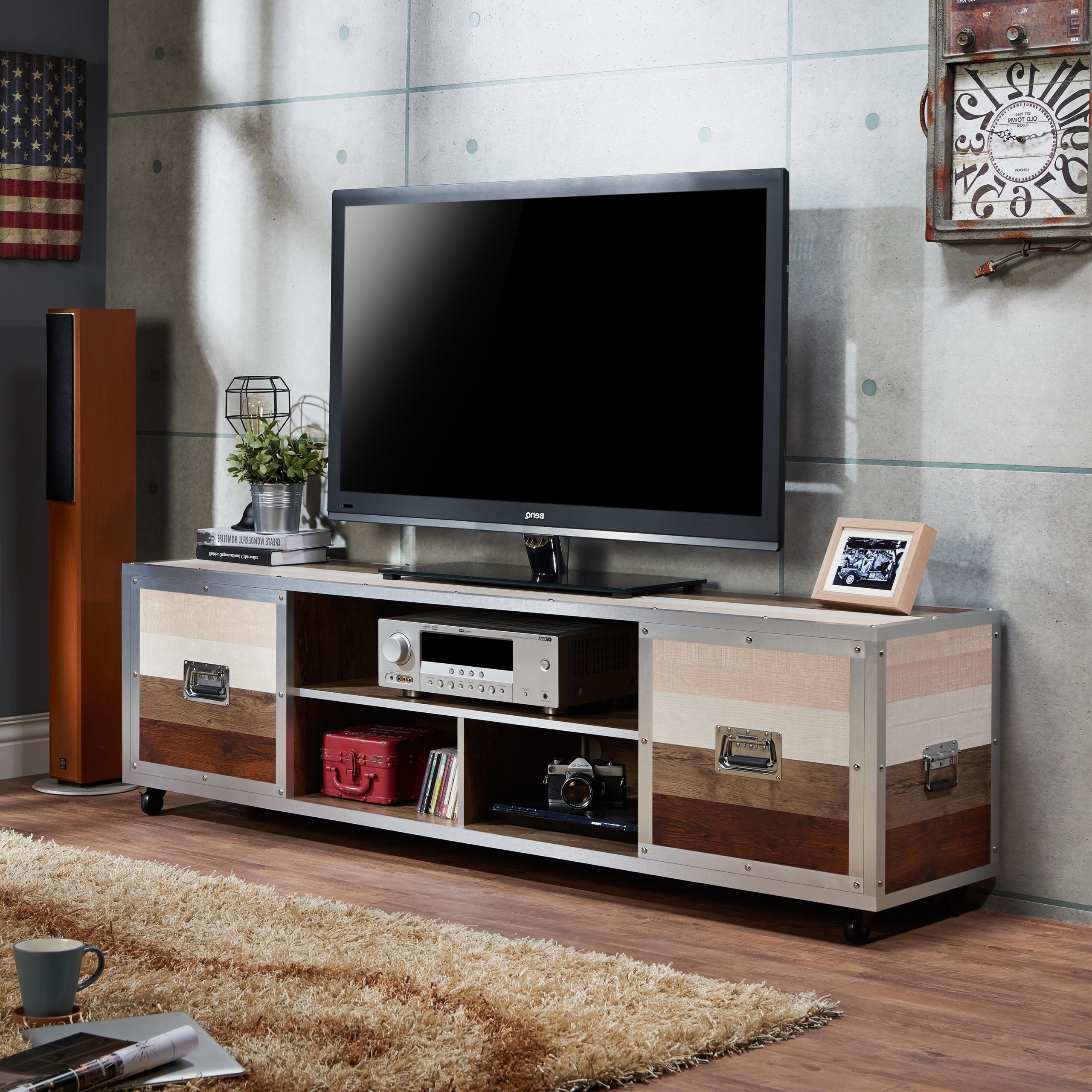 Furniture Of America Yed Contemporary 70 Inch Multi Color With Regard To Mainstays Tv Stands For Tvs With Multiple Colors (View 4 of 20)