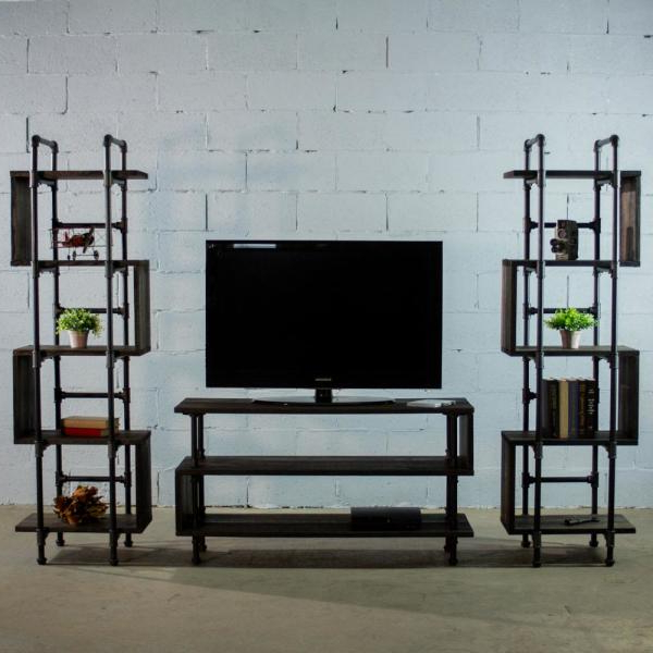 Furniture Pipeline Tucson Modern Industrial, Black Tv Throughout Modern Black Tv Stands On Wheels (View 7 of 20)