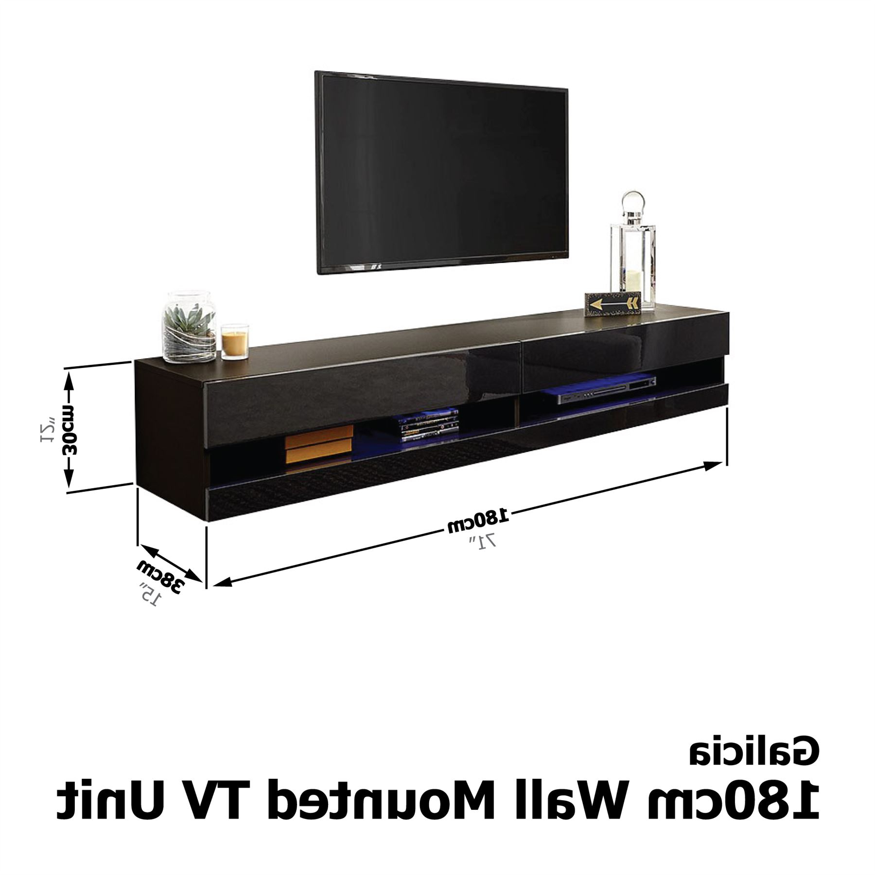 Galicia 120cm 150cm 180cm Wall Tv Unit Stand W/ Led Lcd Inside Galicia 180cm Led Wide Wall Tv Unit Stands (View 2 of 20)