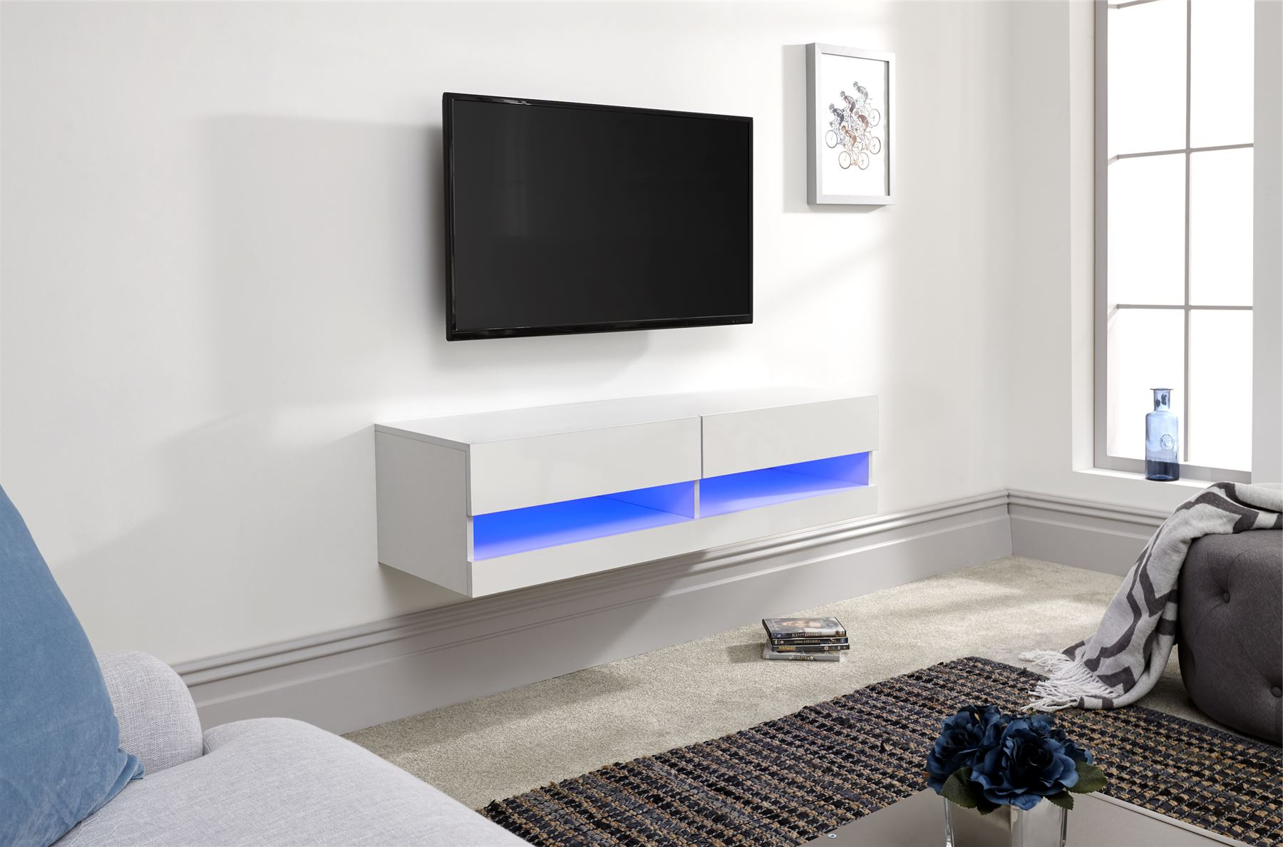 Galicia 120cm 150cm 180cm Wall Tv Unit Stand W/ Led Lcd Regarding Galicia 180cm Led Wide Wall Tv Unit Stands (View 3 of 20)