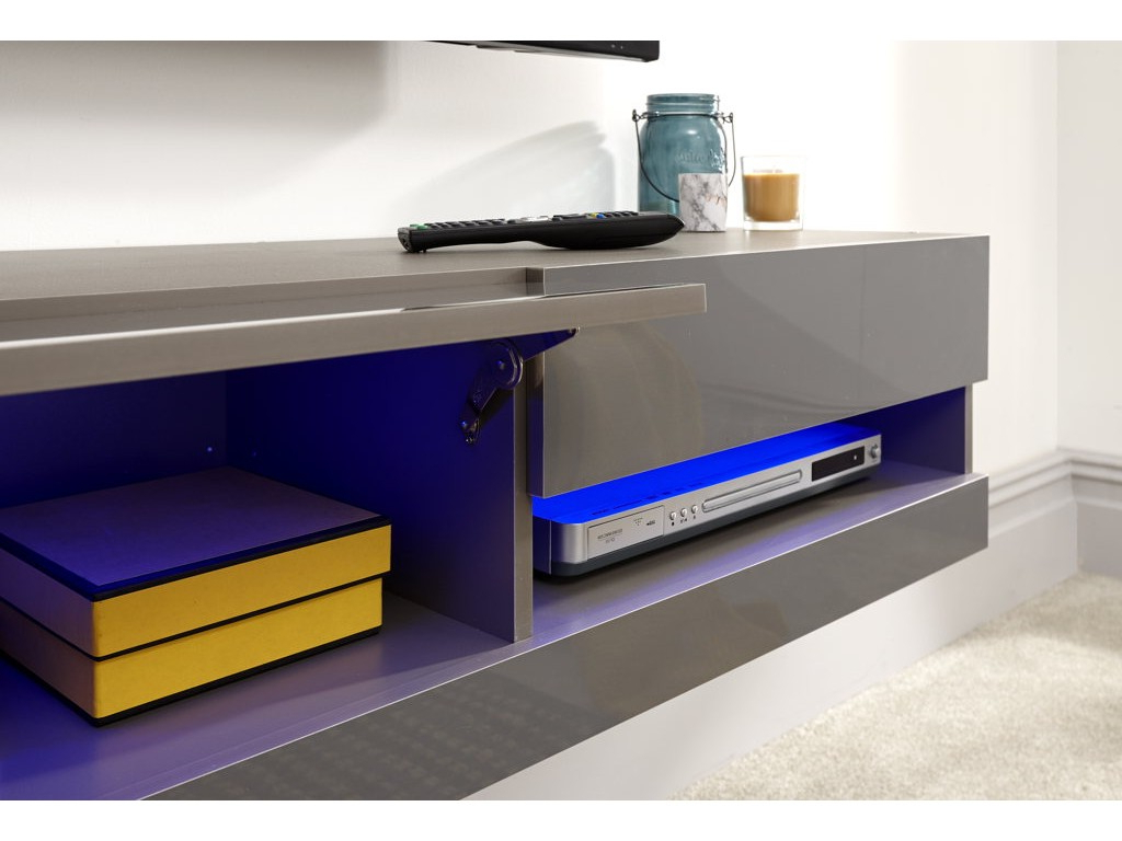 Galicia 120cm Wall Tv Unit With Led Grey For Galicia 180cm Led Wide Wall Tv Unit Stands (View 9 of 20)