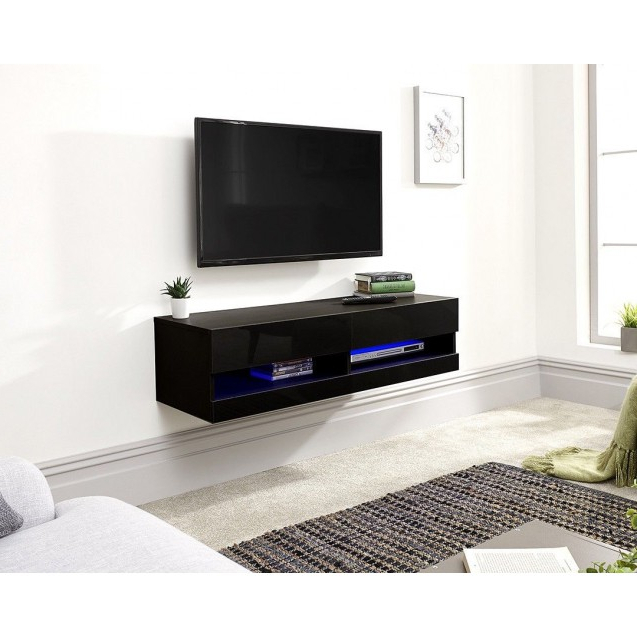 Galicia Wall Mounted Black Gloss Tv Unit With Led – 120 Cm In Galicia 180cm Led Wide Wall Tv Unit Stands (View 12 of 20)