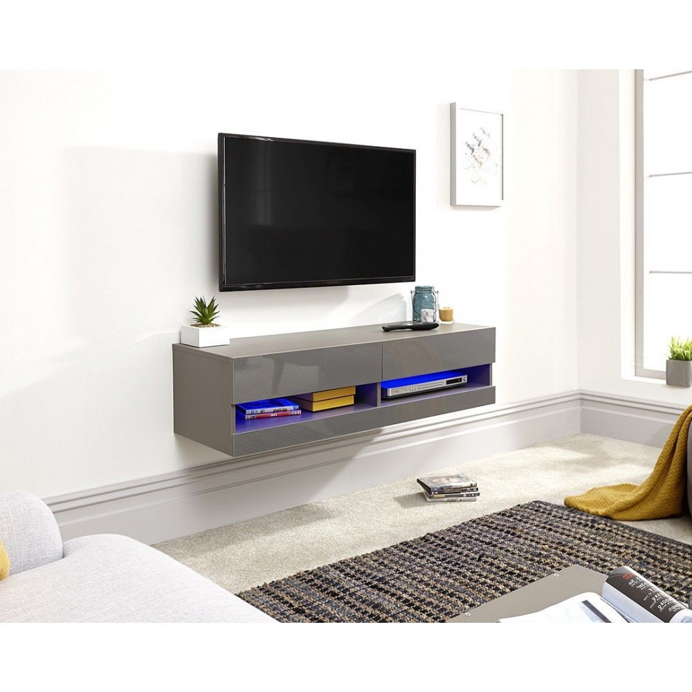Galicia Wall Mounted Grey Gloss Tv Unit With Led – 120 Cm With Galicia 180cm Led Wide Wall Tv Unit Stands (View 4 of 20)