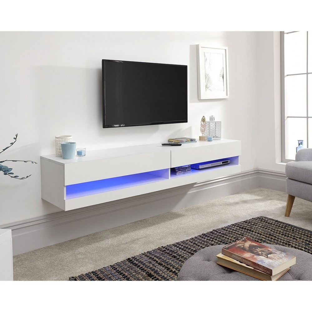 Galicia Wall Mounted White Gloss Tv Unit With Led – 180 Cm Throughout Galicia 180cm Led Wide Wall Tv Unit Stands (View 5 of 20)