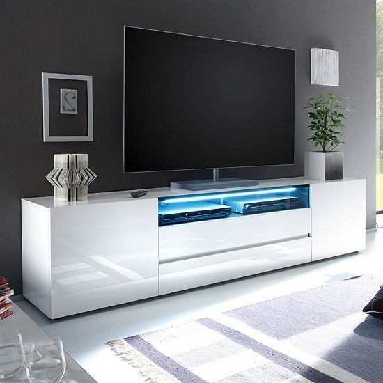 Genie Wide Tv Stand In High Gloss White With Led Lighting For Orsen Wide Tv Stands (View 16 of 20)