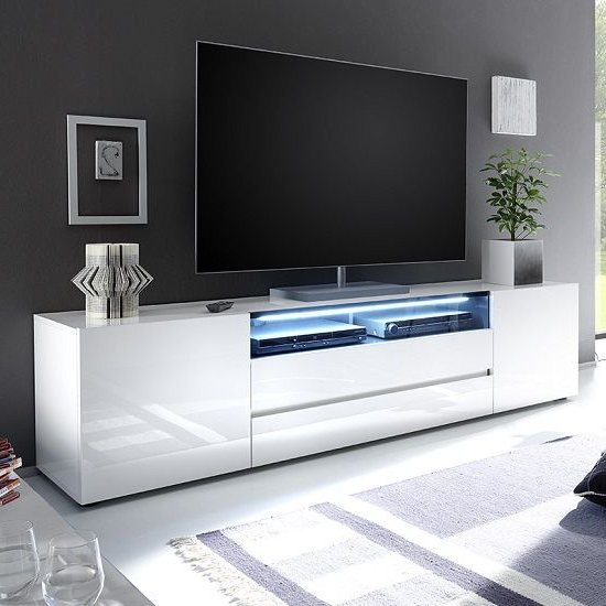 Genie Wide Tv Stand In High Gloss White With Led Lighting Within Ktaxon Modern High Gloss Tv Stands With Led Drawer And Shelves (View 8 of 20)