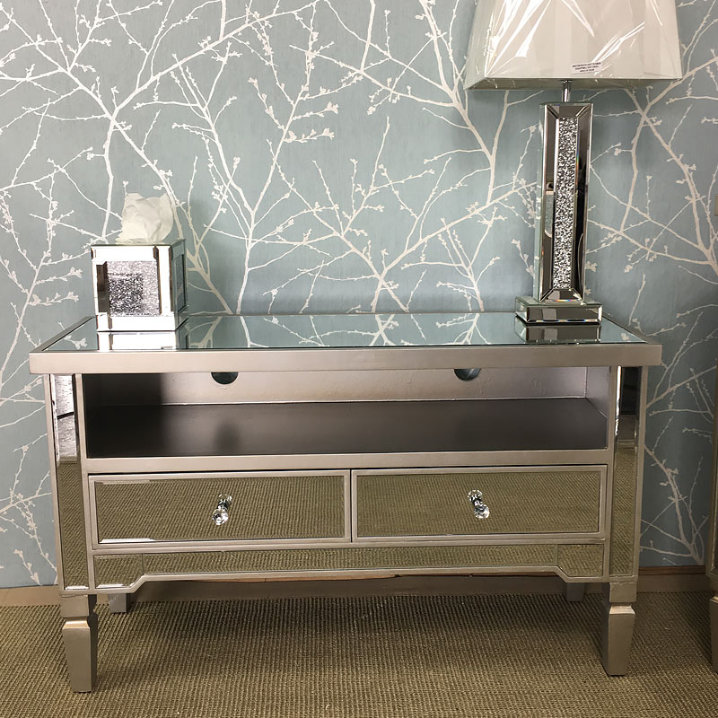 Georgia Antique Silver Mirrored Tv Entertainment Stand Regarding Fitzgerald Mirrored Tv Stands (View 8 of 20)
