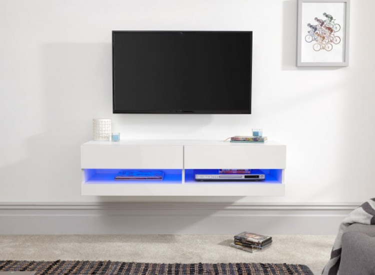 Gfw Galicia White Gloss Led Tv Unit 120cmgfw With Galicia 180cm Led Wide Wall Tv Unit Stands (View 15 of 20)