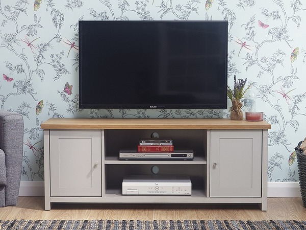 Gfw Lancaster Grey And Oak 2 Door Large Tv Cabinet (flat With Lancaster Large Tv Stands (View 9 of 20)
