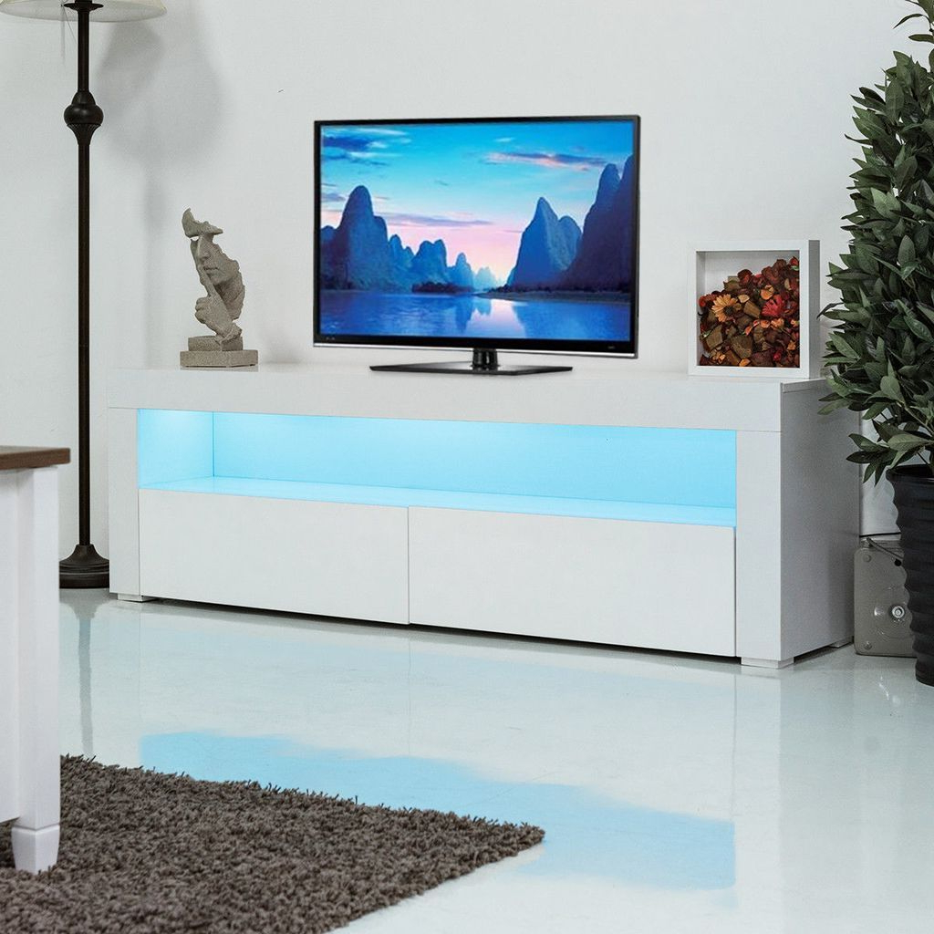 Giantex Living Room Tv Stand Unit Cabinet Console Pertaining To Ktaxon Modern High Gloss Tv Stands With Led Drawer And Shelves (View 5 of 20)
