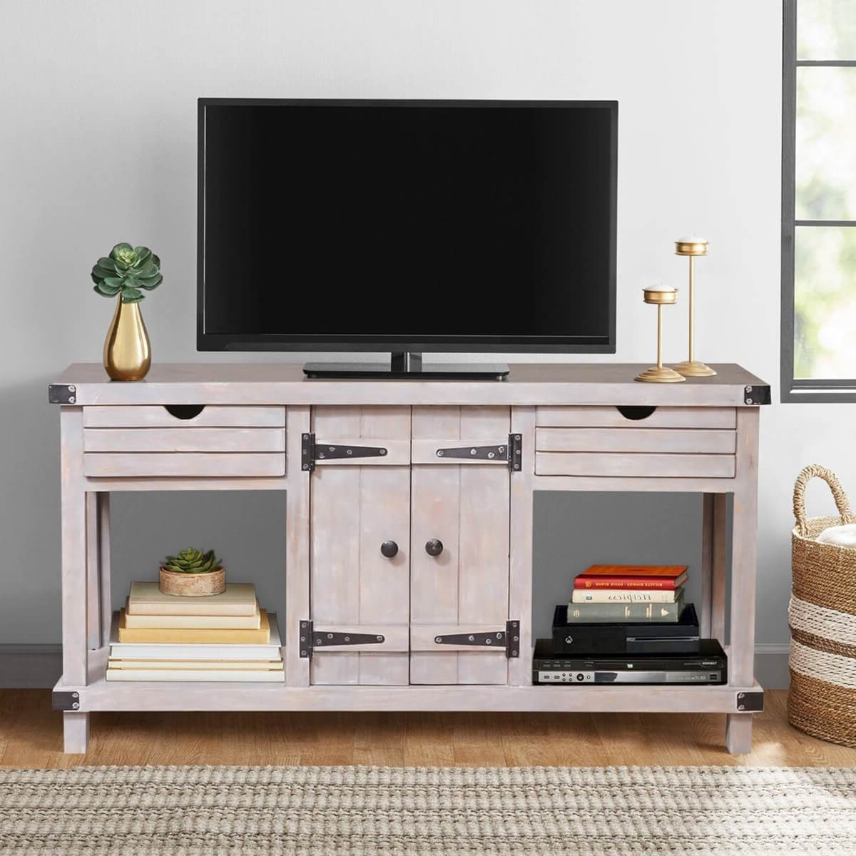 Gibsland Reclaimed Wood 2 Drawer Media Console Tv Stand Table In Manhattan 2 Drawer Media Tv Stands (View 2 of 20)