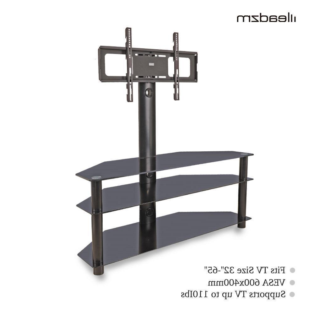 Glass 3 Tier Shelf Floor Tv Stand With Swivel Mount For 32 For Modern Floor Tv Stands With Swivel Metal Mount (View 18 of 20)