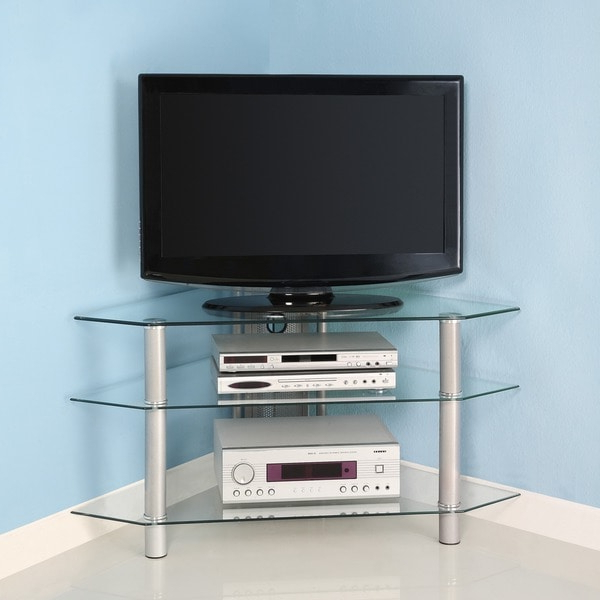 Glass Metal 44 Inch Corner Tv Stand – 11527607 – Overstock Pertaining To Contemporary Black Tv Stands Corner Glass Shelf (View 9 of 20)