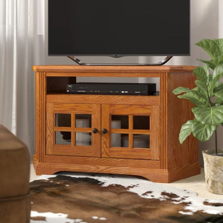 """Glastonbury Solid Wood Corner Tv Stand For Tvs Up To 50 Within Spellman Tv Stands For Tvs Up To 55"""" (View 2 of 20)"""