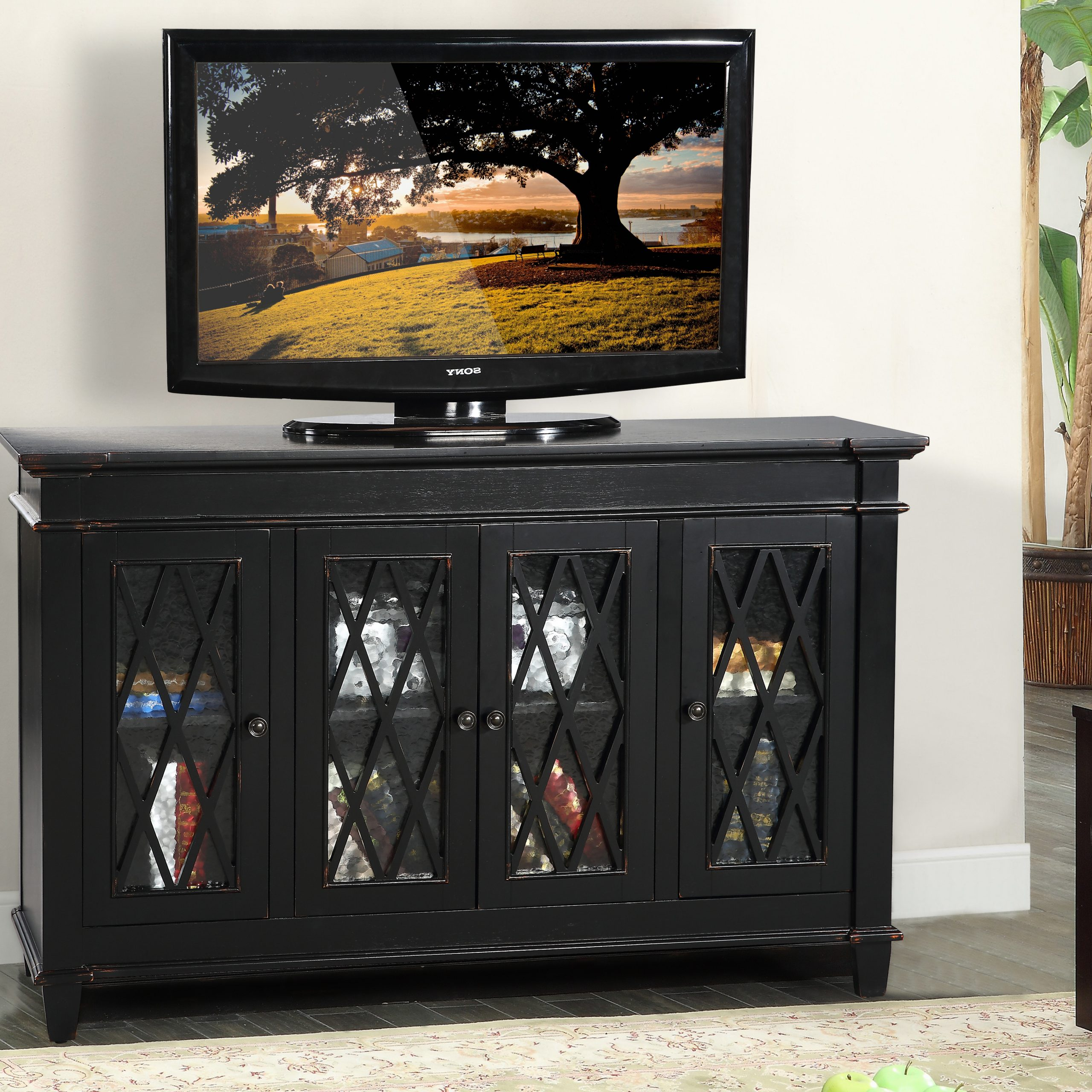 """Glenwillow Home 56"""" Wide Tv Stand/accent Cabinet With Inside Copen Wide Tv Stands (View 8 of 20)"""