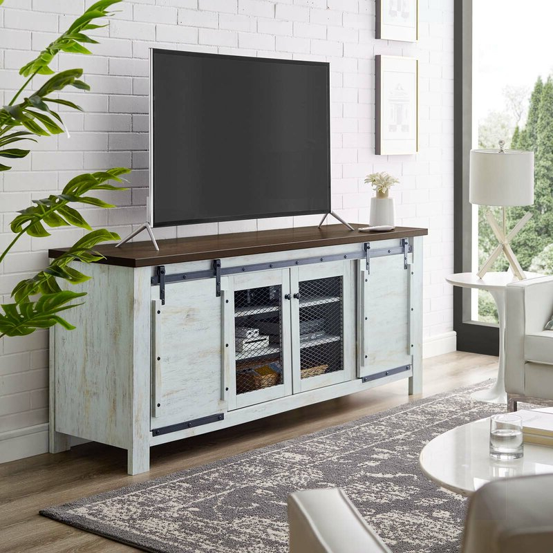 """Gracie Oaks Kegley Tv Stand For Tvs Up To 85"""" & Reviews Regarding Griffing Solid Wood Tv Stands For Tvs Up To 85"""" (View 9 of 20)"""