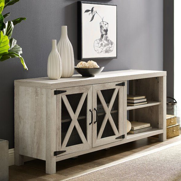 Gracie Oaks Mildenhall Tv Stand For Tvs Up To 58 Intended For Kado Corner Metal Mesh Doors Tv Stands (View 9 of 20)