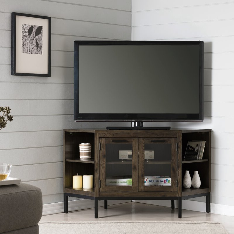 """Gracie Oaks Virna Corner Tv Stand For Tvs Up To 50 Within Glass Shelves Tv Stands For Tvs Up To 50"""" (View 2 of 20)"""