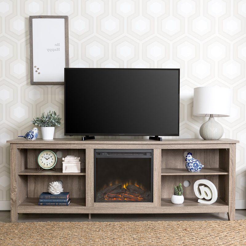 Gray 70 Inch Rustic Fireplace Tv Stand   Rc Willey Pertaining To Modern Black Floor Glass Tv Stands For Tvs Up To 70 Inch (View 17 of 20)