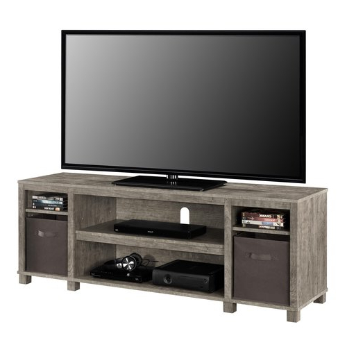 Gray Tv Stand Console W/ 2 Bins Storage Home Entertainment Intended For Woven Paths Open Storage Tv Stands With Multiple Finishes (View 10 of 20)