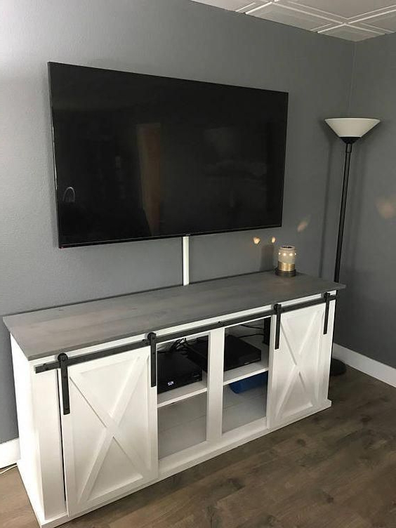 """Great Inspiring Ideas To Give Some Thought To # Regarding Jaxpety 58"""" Farmhouse Sliding Barn Door Tv Stands In Rustic Gray (View 10 of 20)"""