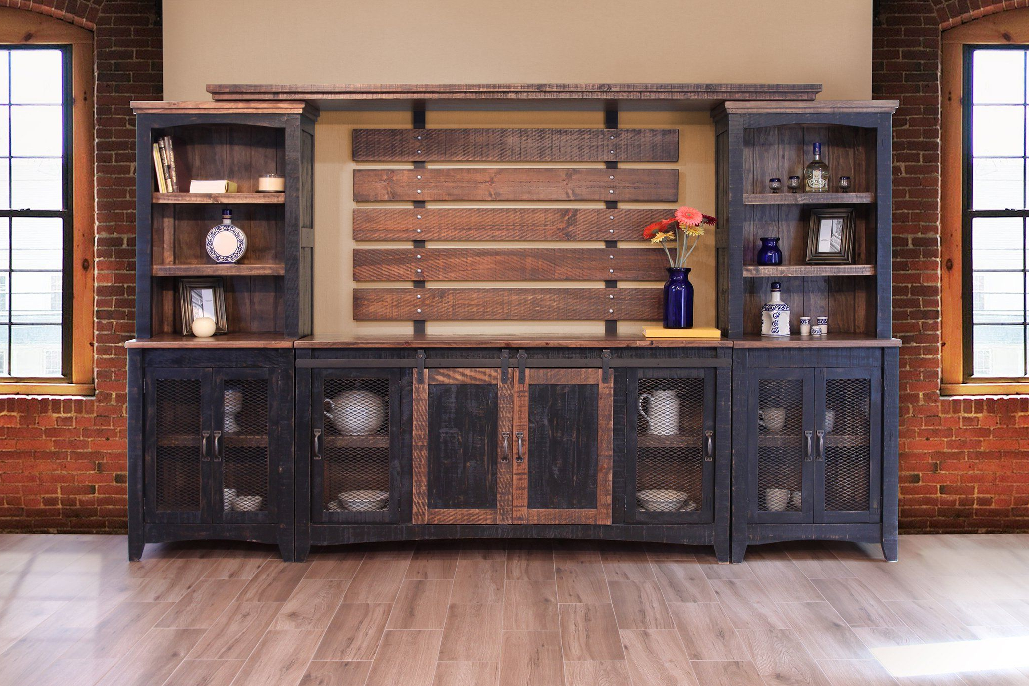 Greenview Sliding Door Media Set – Distressed Black In Dark Brown Tv Cabinets With 2 Sliding Doors And Drawer (View 11 of 20)