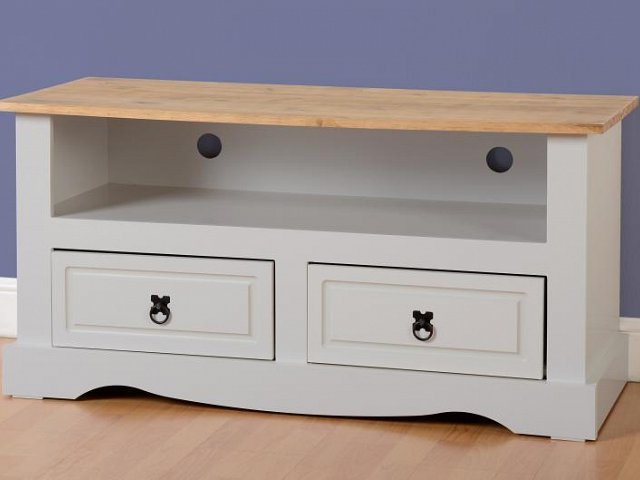 Grey Corona 2 Drawer Flat Screen Tv Unit At Ex Catalogue For Corona Grey Corner Tv Stands (View 3 of 20)