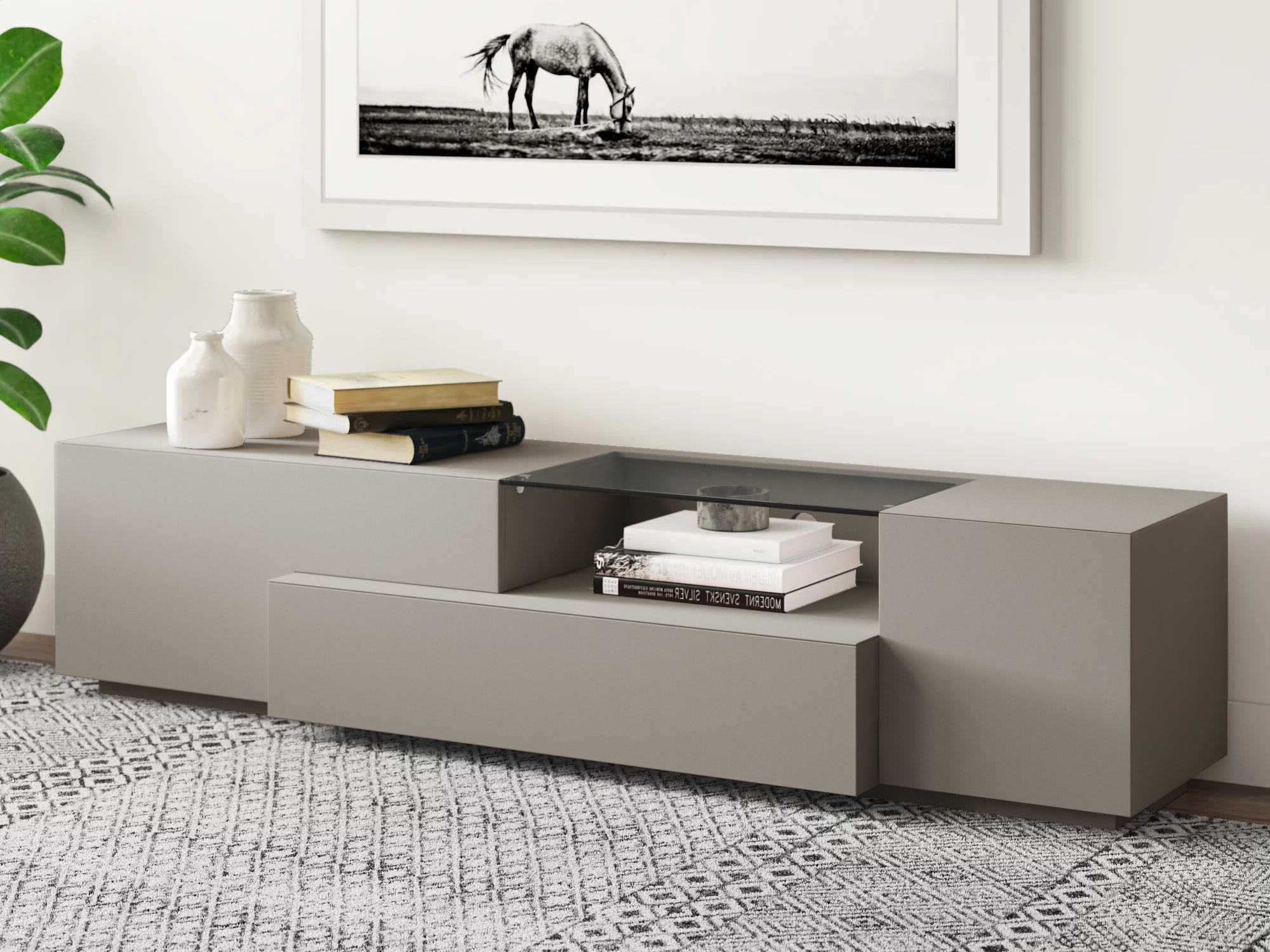Grey Finish Contemporary Functional Entertainment Tv Stand Regarding Rustic Grey Tv Stand Media Console Stands For Living Room Bedroom (View 18 of 20)