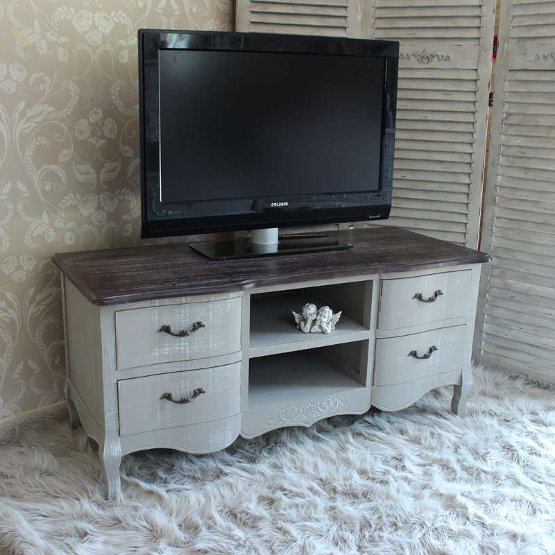 Grey Tv Unit – Melody Maison® Throughout Compton Ivory Corner Tv Stands With Baskets (View 5 of 20)