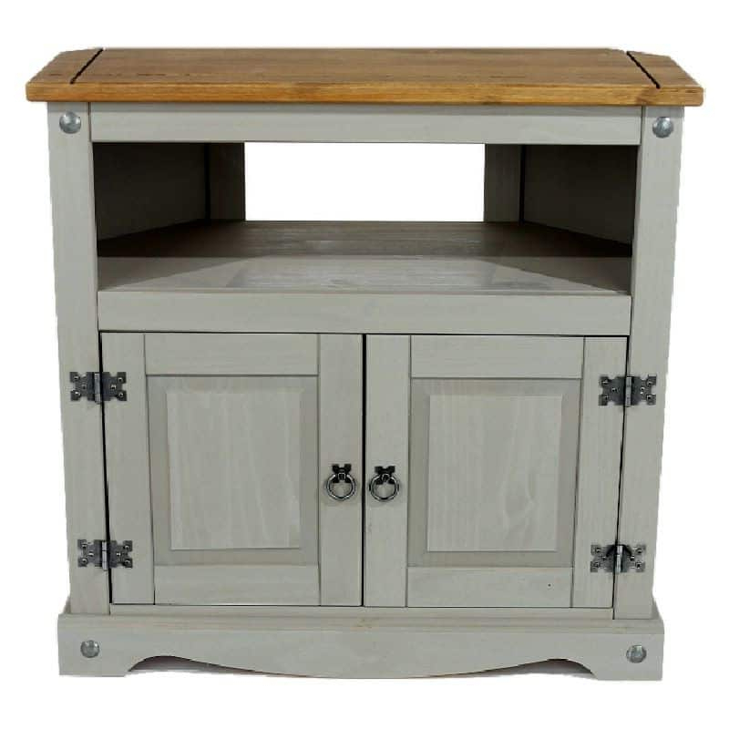 Grey Washed Pine Tall Corner Tv Unit   Cheap Furniture Intended For Corona Small Tv Stands (View 8 of 20)
