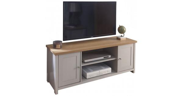 Grey With Oak Top Lancaster Large 2 Door Shelf Storage Tv Regarding Lancaster Corner Tv Stands (View 13 of 20)
